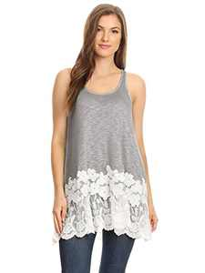 Anna-Kaci Womens Casual and Comfortable Loose Fit Tunic Tank Top with Lace Trim, Grey, Large