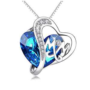 Mom Necklace 925 Sterling Silver Pendant Necklaces with Blue Heart Crystals Jewelry for Mom Birthday Gift Mother in law Gifts for Mother-to-be Grandmom