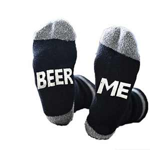 Unisex Fashion Letter Printed Sport Causual Cotton Blend Comfort Ankle Socks (BEER ME)