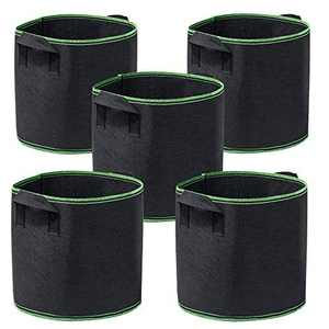 Garden4Ever 5-Pack 10 Gallon Grow Bags Heavy Duty Container Thickened Nonwoven Fabric Plant Pots with Handles