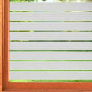 """ConCus-T Frosted Window Film Striped Static Cling Non-Adhesive Privacy Window Sticker Opaque Etched Stained Glass Window Covering for Bathroom Office Kitchen 35.43""""x78.74"""""""