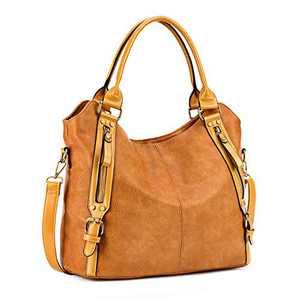 Plambag Women Tote Bag Handbags Hobo Shoulder Bag Faux Leather Purse Yellowish Brown