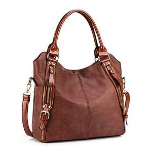 Plambag Women Tote Bag Handbags Hobo Shoulder Bag Faux Leather Purse Coffee