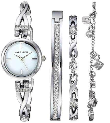 Anne Klein Women's Premium Crystal Accented Silver-Tone Watch and Bracelet Set