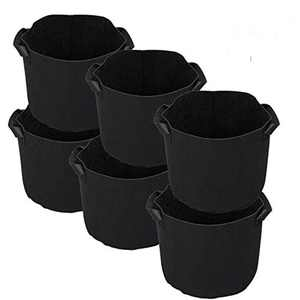 Dulcii 6 Pack 10 Gallon Reusable Plant Growing Black Bags Flower Vegetable Aeration Planting Pot Container Indoor Outdoor Gardening Plant Pouch Fabric Pots with Handles (【10Gallon】)