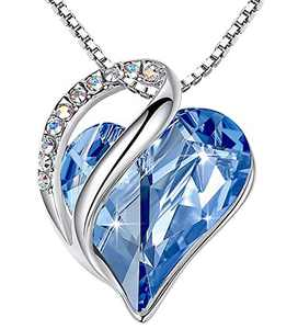 """Leafael Infinity Love Heart Pendant Necklace with Light Sapphire Blue Birthstone Crystal for March and December, Jewelry Gifts for Women, Silver-tone, 18""""+2"""""""