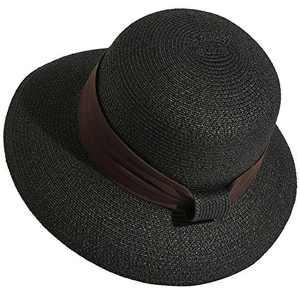 Lanzom Women Wide Brim Straw Foldable Roll up Cap Fedora Beach Sun Hat UPF50+ (Style A-Black)