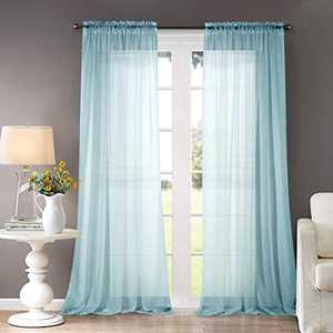 "Dreaming Casa Solid Sheer Curtains Draperies Lake Blue Rod Pocket 2 Panels 52"" W x 84"" L"
