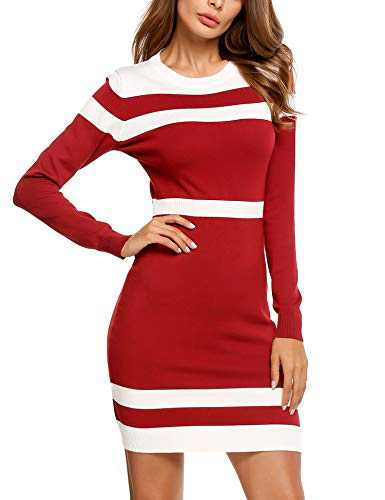 Beyove Womens Long Sleeve Colorblock Sweater Dress Striped Knit Elegant Work Dress Red XL