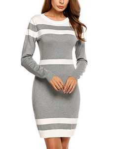 Beyove Women's Scoop Neck Sweater Bodycon Dress Business Knit Pullover Dresses for Women Gray