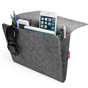 Daite Bedside Pocket, Felt Bedside Caddy Storage Organizer Bed Caddy with 2 Small Pockets for Organizing Magazine Phone Small Things Home Sofa Desk Holder(Dark grey)