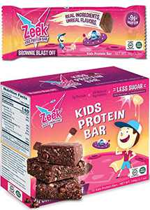 Zeek Kids Protein Bars | 30% Less Sugar, 9g of Protein, All Natural Kids Snack | Nutrition Snack Bars for Active Kids & Sports | Gluten Free Snack | Brownie Blast Off, 10 Count