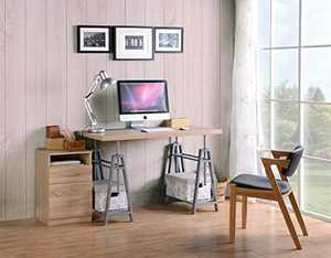American Furniture Classics OS Home and Office Adjustable Height Writing Desk with Sturdy Metal Base, Cross Hatch Birch