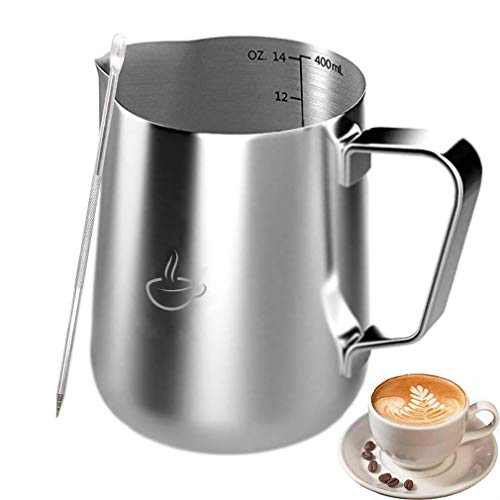 Milk Frothing Pitcher -Stainless Steel Measurements On Side Milk Pitcher With Latt Art Pen (14oz)