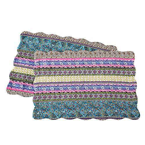 NEWLAKE Quilted Cotton Bed Pillowcases, Striped Jacquard Style, 2 Pieces, 20x27 Inch