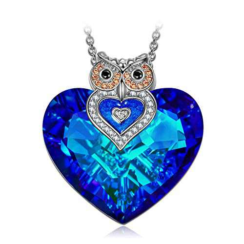 J.NINA Necklace for Women Heart Necklace for Daughter Big Blue Crystals Jewelry Owl Graduation Gifts for Friend Birthday Gifts for Wife Girlfriend