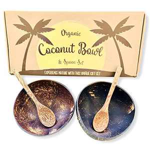 Coconut Bowls and Coconut Spoons Gift Set (Set of 2 Coco Bowls + 2 Coco Spoons) - 100% Natural - Vegan - Hand Made - Eco Friendly - Made from Reclaimed Coconut Shells - Artisan Craft