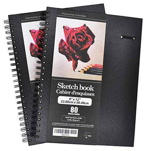"LYTek Hardcover Sketch Book,2 Pack 9""x12""Premium Sketchbook with Spiral Wire and Pencil Loop,Total 160 sheets of Sketch Pad,Acid Free Drawing Paper, Perfect for Pen,Colored Pencil,Pastel and Graphite."
