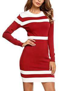 Beyove Womens Colorblock Striped Long Sleeve Knit Sweater Dress Comfy Sweater Bodycon Sheath Dress Red M