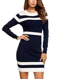 Beyove Colorblock Knitted Knit Dresses for Women Round Neck Sweater Dress Navy Blue M