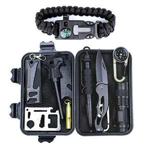 HSYTEK Survival Gear Kit 11 in 1, Professional Outdoor Emergency Survival Kit with Tactical Pen,Bracelet,Temperature Compass,Fire Starter,Flashlight for Men Dad Christmas New Year Gift