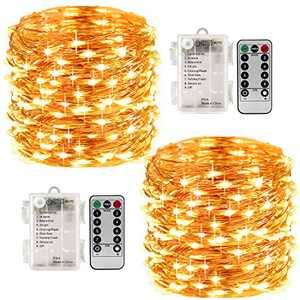 LightsEtc 8 Modes 2 Pack 33 Feet 100 Led Fairy String Lights with Battery Remote Timer Control Operated Waterproof Copper Wire Fairy Lights for Room Wedding Garden Party Wall Tree Decoration