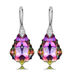 NINASUN Crystal Earrings for Women Iridescent Earring Sterling Silver Jewelry Hypoallergenic Birthday Gifts for Her Mom Wife Girls Mother Christmas Gift Valentines Mothers Day Anniversary Rainbow