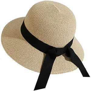 Lanzom Women Wide Brim Straw Foldable Roll up Cap Fedora Beach Sun Hat UPF50+ (Style C-Mixed Beige)