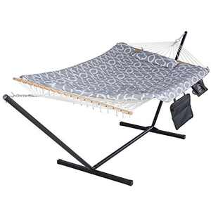 SUNCREAT Cotton Rope Hammock for Two People with Hardwood Spreader Bar, Quilted Fabric Pad & Detachable Pillow, Extra Large Indoor/Outdoor Hammock with 12 FT Steel Stand, Ipad Bag & Cup Holder, Grey