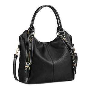 Plambag Women Tote Bag Handbags Hobo Shoulder Bag Faux Leather Purse Black