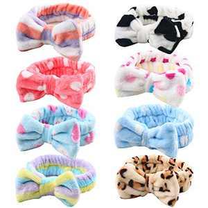 Bow Hair Band, Soft Carol Fleece Hairlace Headband Turban Bowknot Bow Makeup Shower Headbands Headwraps for Washing Face Shower Spa Mask, Multiple Styles, 8PCS