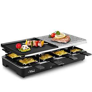 Artestia Raclette Grill,Electric Grill Indoor Portable 2 In 1 Korean Bbq Grill Cheese Raclette, Non-Stick Grilling Plate And Cooking Stone- Deluxe 8 Person Electric Tabletop Grill