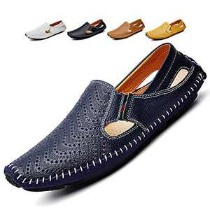 Noblespirit Men's Driving Shoes Leather Fashion Slipper Casual Slip on Loafers Shoes in Summer Mens Mules Shoes Breathable Diameter-zinroy Slip-on Loafers Blue NSLFS8503-Be40