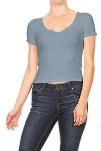 Anna-Kaci Womens Casual Rib Knit Short Sleeve V Neck Crop Top, Light Blue, Medium