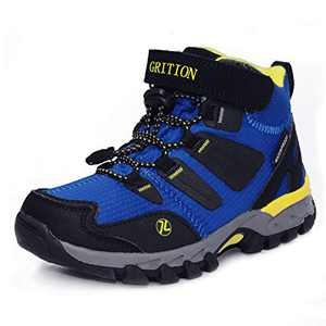 GRITION Boys Hiking Boots Mid Kids Waterproof Outdoor Trekking Running Trail Boots Hook and Loop Walking Boots School Shoes Anti Slip Footwear Unisex Kids(0.5 Child US,Royal Blue)