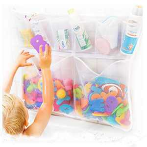 """Tub Cubby """"Really Big"""" Bath Toy Storage & Bath Toys- Hanging Bath Toy Holder, with Suction & Adhesive Hooks, 30""""x23"""" Mesh Net Shower Caddy with Suction & Adhesive Hooks - 36 ABC Soft Foam Letters and Numbers - Bonus Rubber Duck & Hooks"""