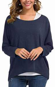 UGET Women's Oversized Baggy Tops Loose Fitting Pullover Casual Blouse T-Shirt Sweater Batwing Sleeve X-Large Navy Blue