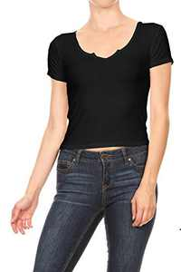Anna-Kaci Womens Casual Rib Knit Short Sleeve V Neck Crop Top, Black, Small