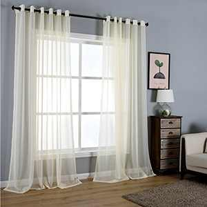 """Dreaming Casa Solid Sheer Curtains Living Room Beige Grommet Top Voile Draperies Window Treatment 52"""" W x 96"""" L 2 Panels"""