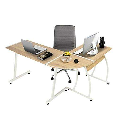 GreenForest L-Shape Gaming Computer Desk 58.1'', PC Laptop Table Writing Studying Working Workstation 3-Piece for Home Office Bedroom Living Room,Oak