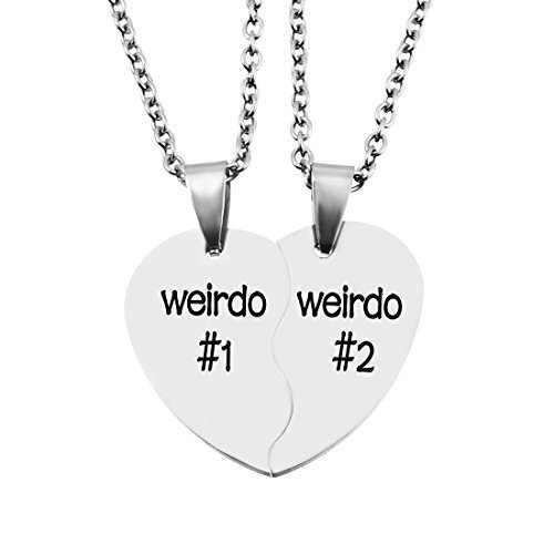 MJartoria Best Friend Necklaces BFF Necklace for 2 Friendship Valentines Day Gifts Split Heart Necklace Weirdo 1 Weirdo 2 Best Friends Forever Pendant Set