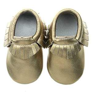 "Pidoli Baby Girls Genuine Leather Soft Sole Moccasins Infant Toddler (4 US6M 18-24Month 14cm 5.51"" Toddler, Dark Gold)"