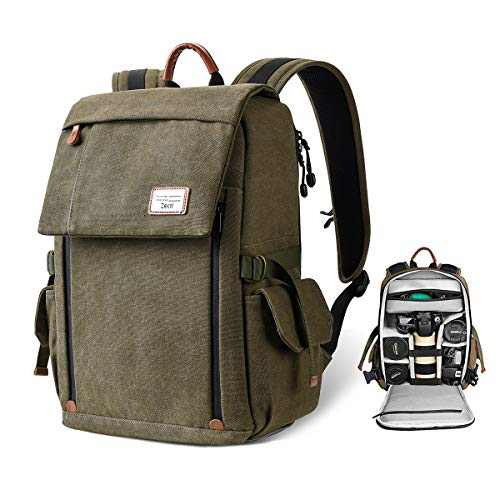 Camera Backpack, Zecti Large Canvas Water Resistant Camera Bag Professional Anti-Theft DSLR Camera Bag with Tripod Holder Laptop Compartment Rain Cover for Men Women-Green