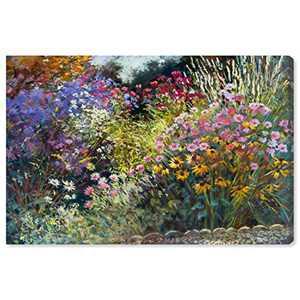 "Amazon Brand – Stone & Beam Modern Impressionistic Floral Print Wall Art on Canvas, 36"" x 24"""