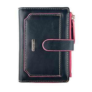 INDRESSME Womens Wallet Candy Color Bifold Mini Vintage Card Holder Wallet (Black)