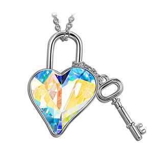 LADY COLOUR Jewelry Gifts for Mom Gifts for Women Necklace Lock and Heart Necklace Crystal Jewelry for Women Birthday Gifts for Women Teen Girls Gifts for Girlfriend Wife Couple