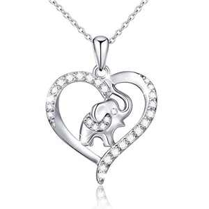 Elephant Gift for Women S925 Sterling Silver Lucky Elephant Love Heart Necklace, 18 inches Rolo Chain