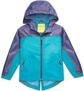 Wantdo Girl's Waterproof Lightweight Jacket Hooded Windbreaker Blue 6/7