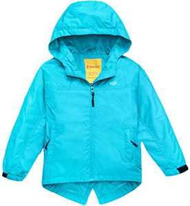 Wantdo Girl's Waterproof Lightweight Jacket Hooded Windbreaker Light Blue 6/7