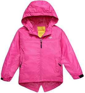 Wantdo Girl's Waterproof Lightweight Jacket Hooded Windbreaker Rose Red 14/16